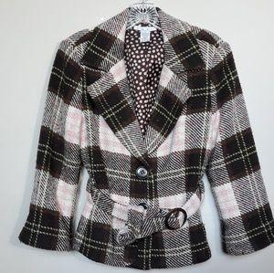 Cabi | Kate Plaid Coat Pink Brown Italian Yarn 10